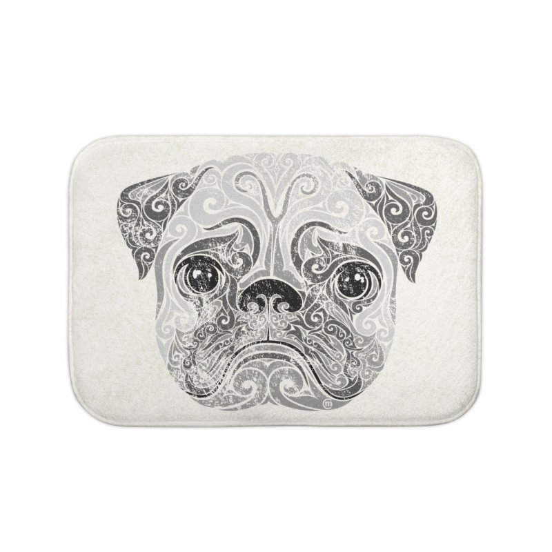 Swirly Pug Home Bath Mat by VectorInk's Artist Shop