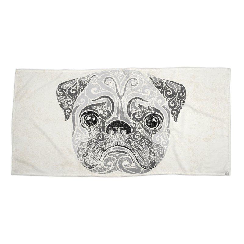 Swirly Pug Accessories Beach Towel by VectorInk's Artist Shop