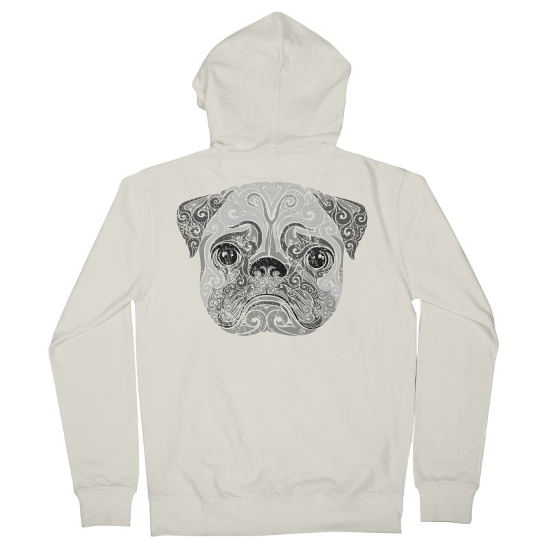 Swirly Pug Men's French Terry Zip-Up Hoody by VectorInk's Artist Shop