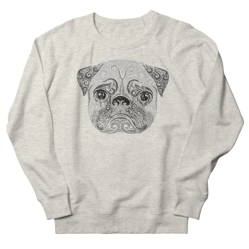 Swirly Pug Men's French Terry Sweatshirt by VectorInk's Artist Shop