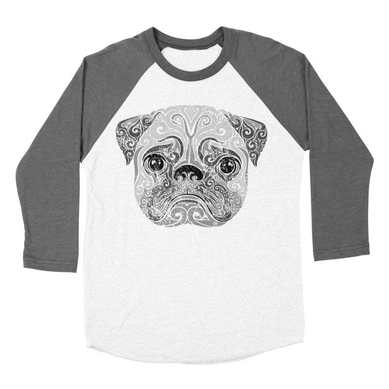 Swirly Pug Women's Baseball Triblend T-Shirt by VectorInk's Artist Shop