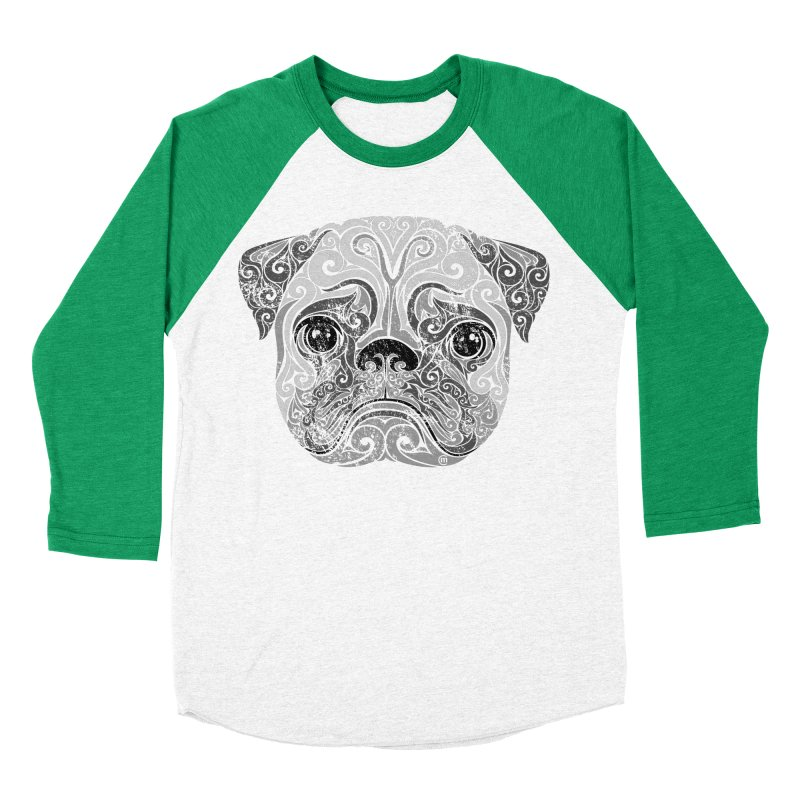 Swirly Pug Men's Baseball Triblend T-Shirt by VectorInk's Artist Shop