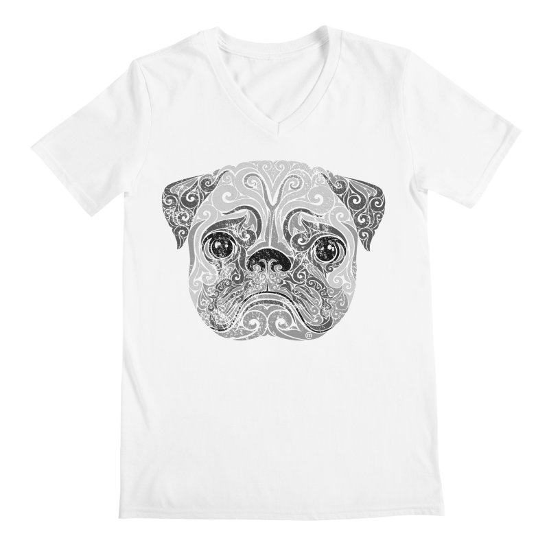 Swirly Pug Men's Regular V-Neck by VectorInk's Artist Shop