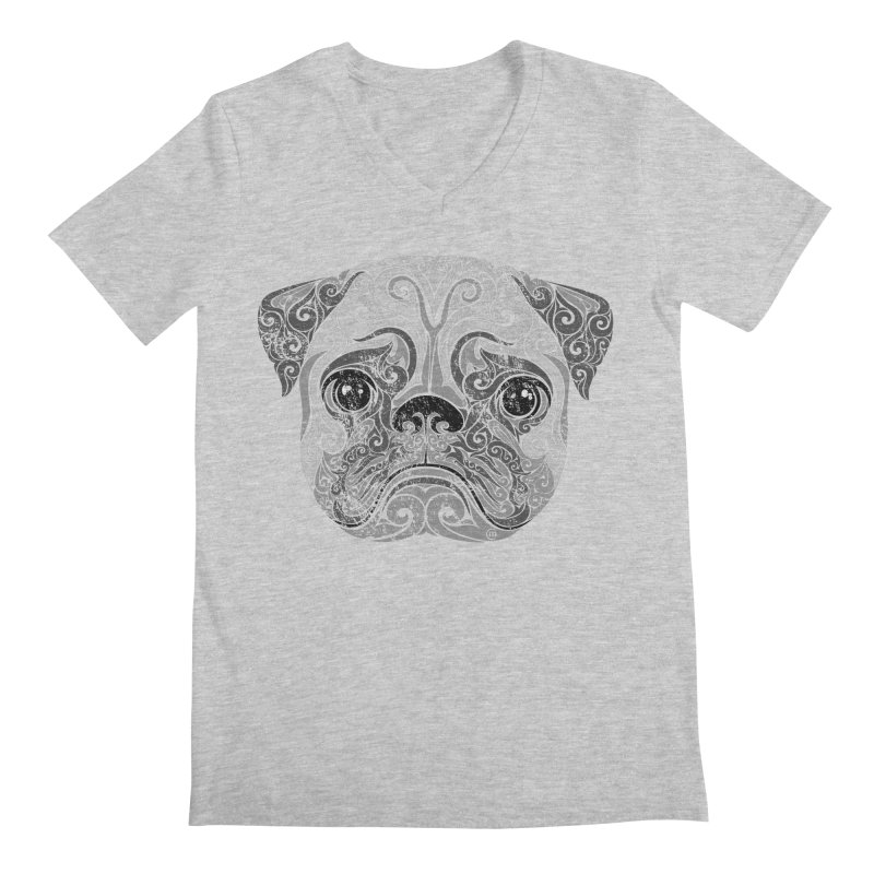 Swirly Pug Men's V-Neck by VectorInk's Artist Shop
