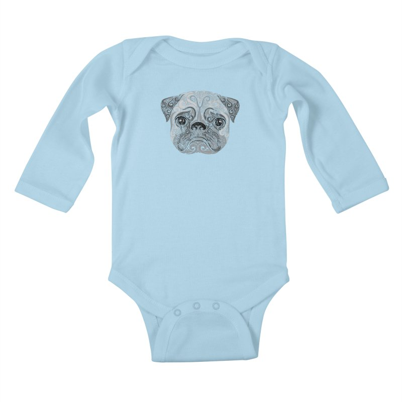 Swirly Pug Kids Baby Longsleeve Bodysuit by VectorInk's Artist Shop