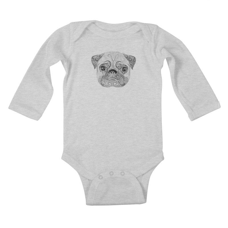 Swirly Pug Kids Baby Longsleeve Bodysuit by VectorInk's Artist Shop