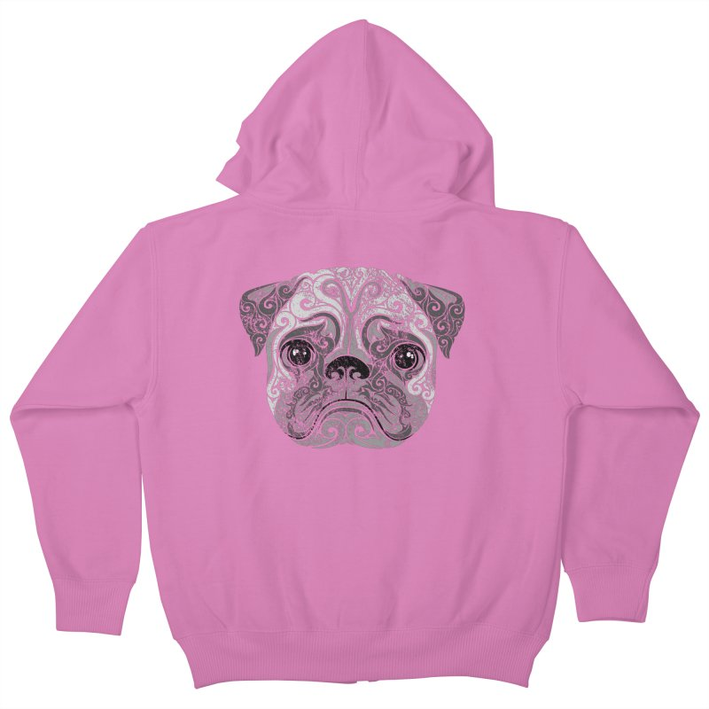 Swirly Pug in Kids Zip-Up Hoody Cotton Candy by VectorInk's Artist Shop
