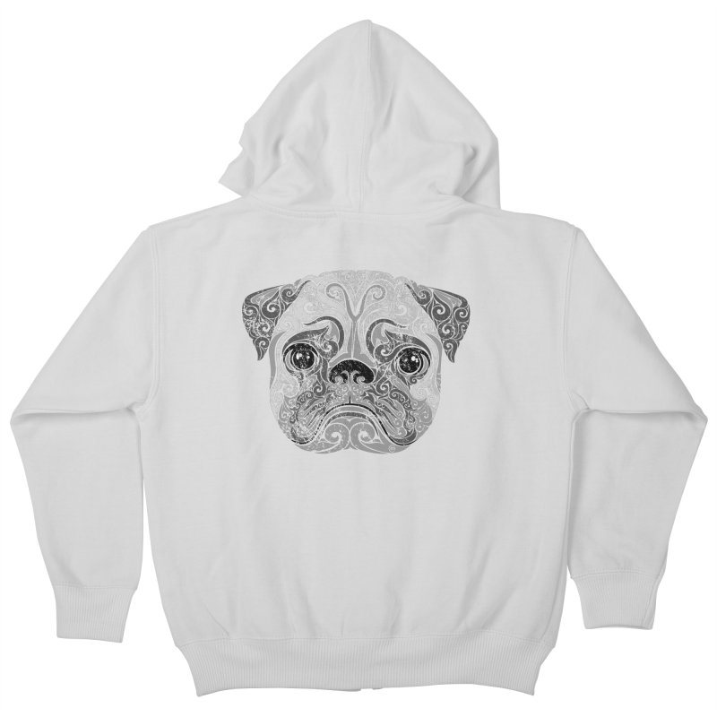 Swirly Pug Kids Zip-Up Hoody by VectorInk's Artist Shop