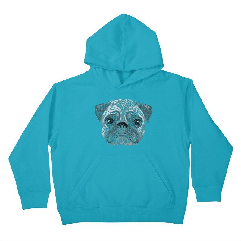 Swirly Pug Kids Pullover Hoody by VectorInk's Artist Shop