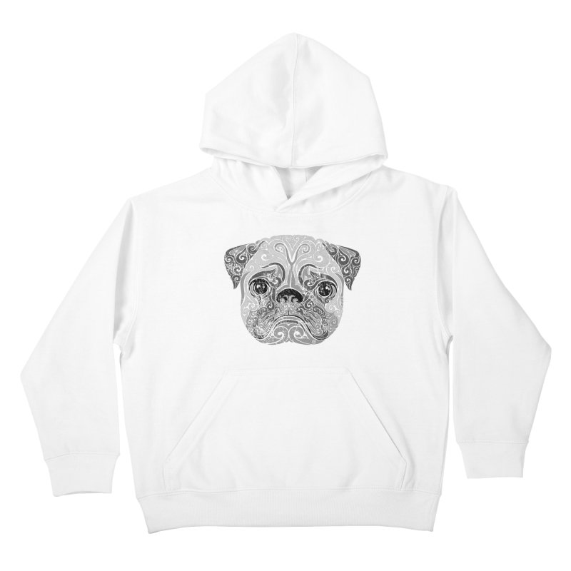 Swirly Pug Kids Pullover Hoody by VectorInk's Artist Shop