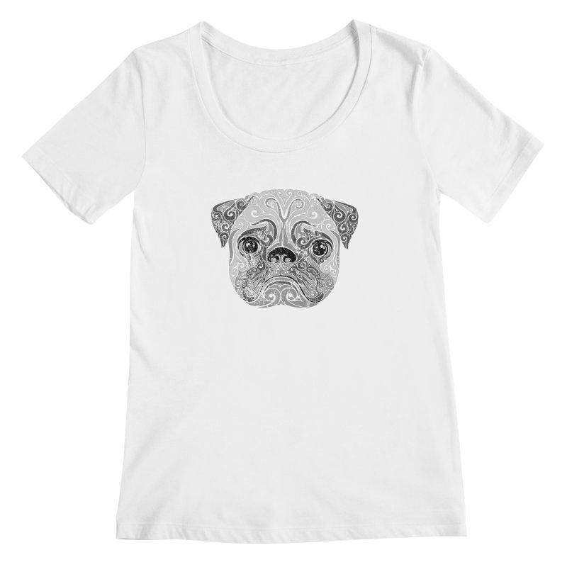 Swirly Pug Women's Scoopneck by VectorInk's Artist Shop