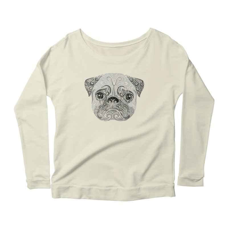 Swirly Pug Women's Longsleeve Scoopneck  by VectorInk's Artist Shop