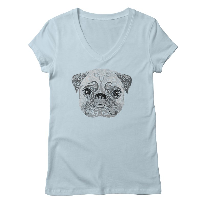 Swirly Pug Women's V-Neck by VectorInk's Artist Shop