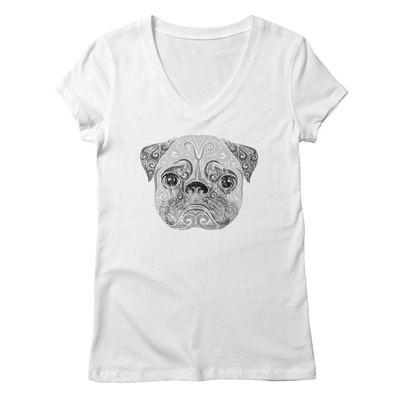 Swirly Pug Women's V-Neck by VectorInk's Artist Shop