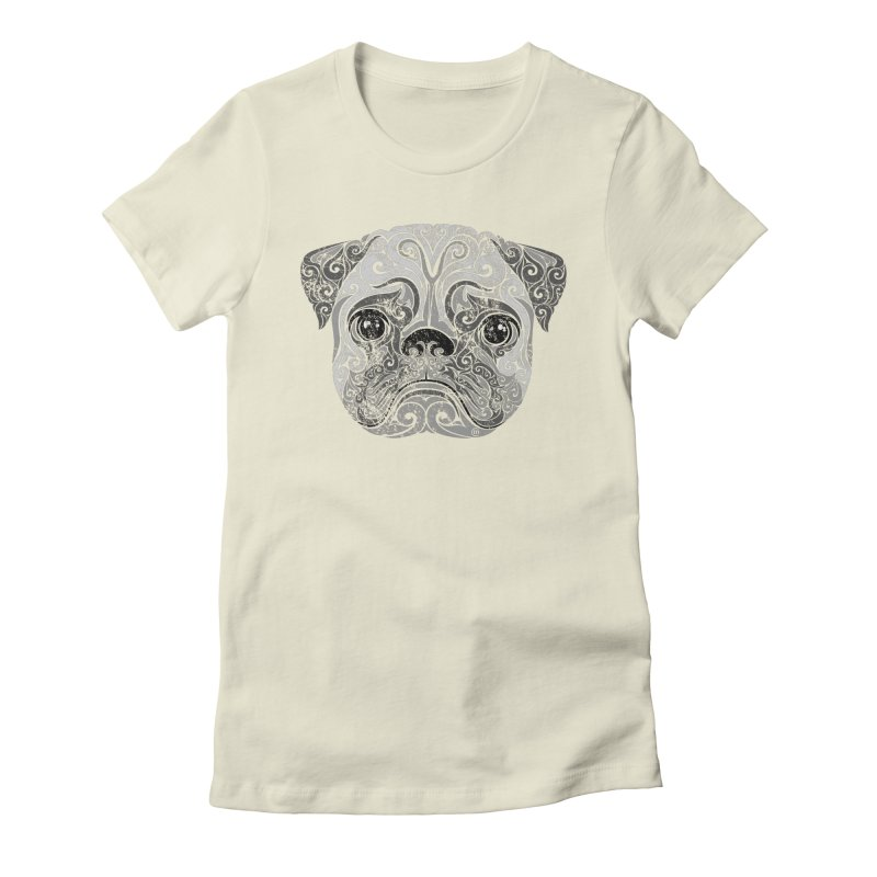 Swirly Pug Women's Fitted T-Shirt by VectorInk's Artist Shop