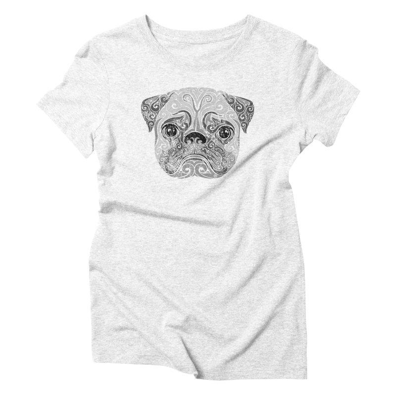 Swirly Pug Women's Triblend T-shirt by VectorInk's Artist Shop