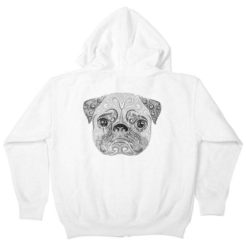 Swirly Pug Kids Zip-Up Hoody by VectorInk's Artist Shop