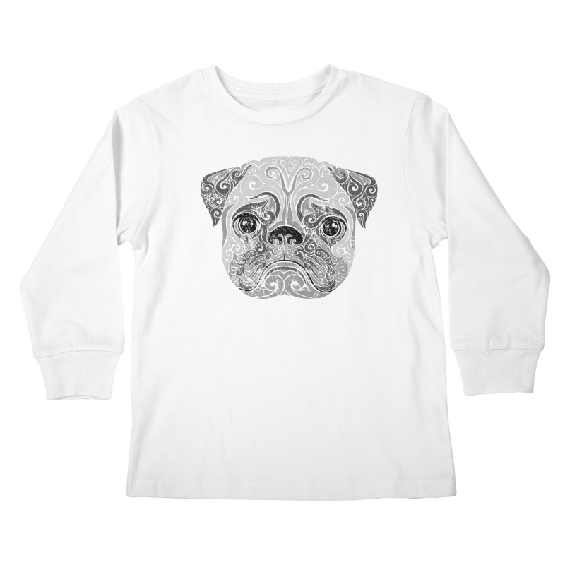 Swirly Pug Kids Longsleeve T-Shirt by VectorInk's Artist Shop