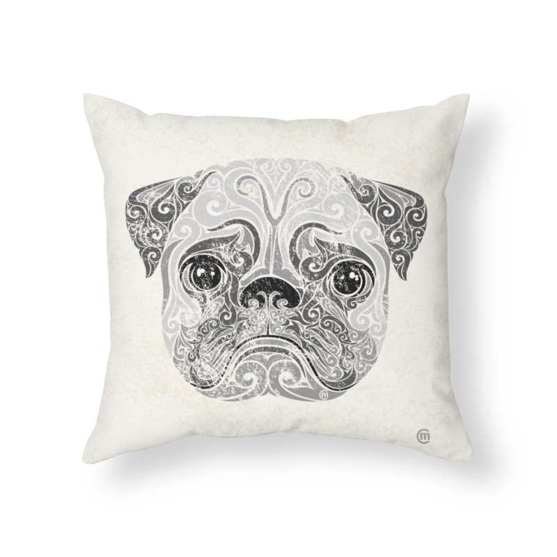Swirly Pug Home Throw Pillow by VectorInk's Artist Shop