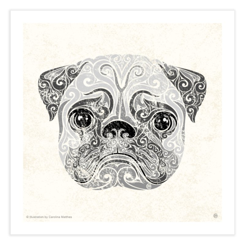 Swirly Pug Home Fine Art Print by VectorInk's Artist Shop