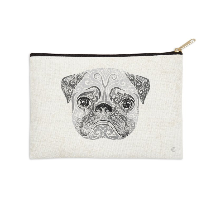 Swirly Pug Accessories Zip Pouch by VectorInk's Artist Shop
