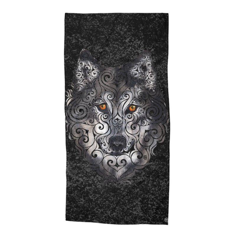 Swirly Wolf Accessories Beach Towel by VectorInk's Artist Shop