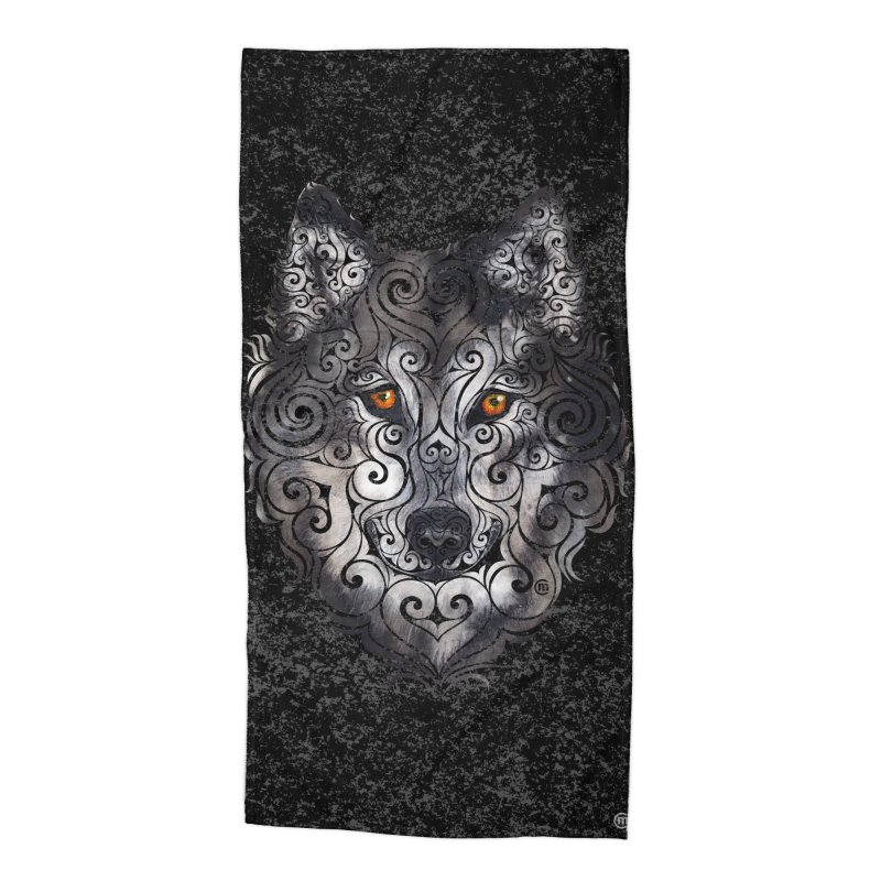 Swirly Wolf Accessories Beach Towel by VectorInk's Artist Shop