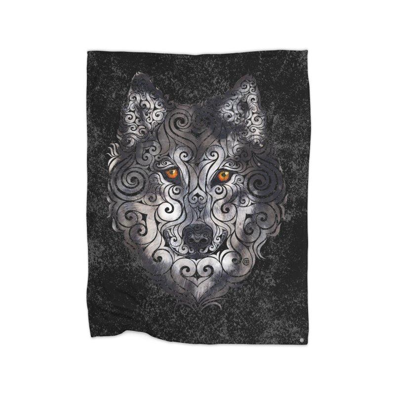 Swirly Wolf Home Blanket by VectorInk's Artist Shop