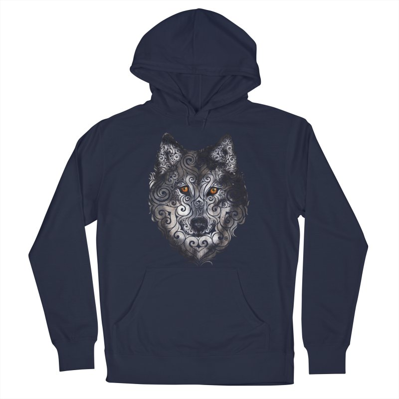 Swirly Wolf Men's Pullover Hoody by VectorInk's Artist Shop