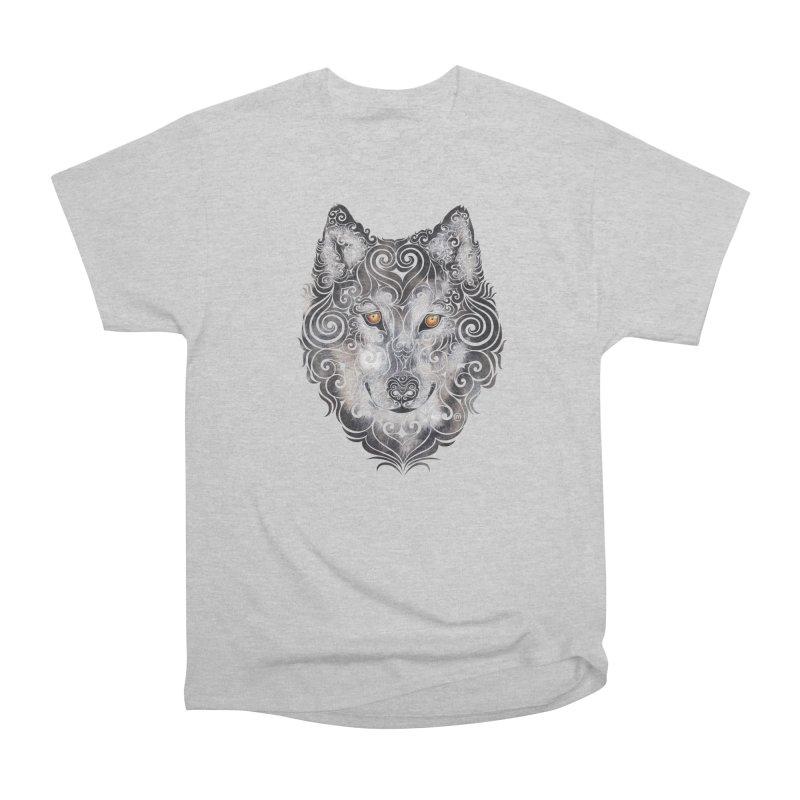 Swirly Wolf Women's Heavyweight Unisex T-Shirt by VectorInk's Artist Shop