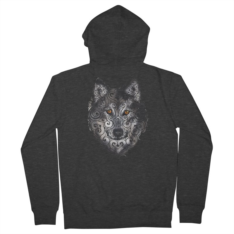 Swirly Wolf Women's French Terry Zip-Up Hoody by VectorInk's Artist Shop