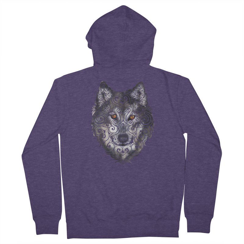 Swirly Wolf Men's French Terry Zip-Up Hoody by VectorInk's Artist Shop