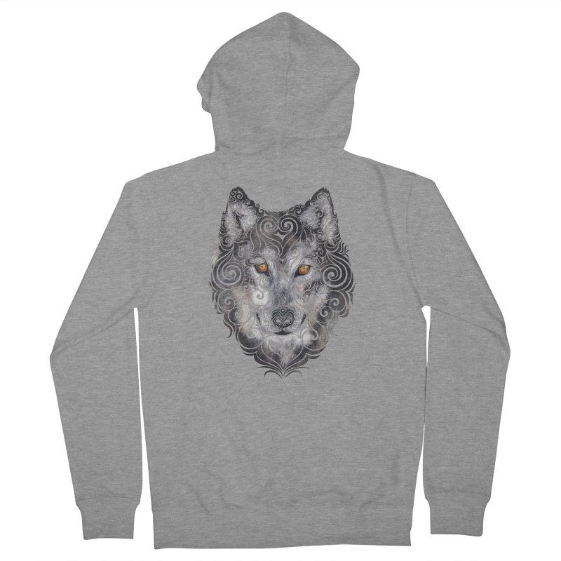 Swirly Wolf Men's Zip-Up Hoody by VectorInk's Artist Shop