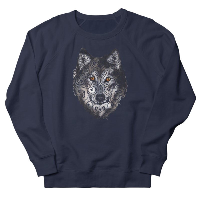 Swirly Wolf Men's French Terry Sweatshirt by VectorInk's Artist Shop