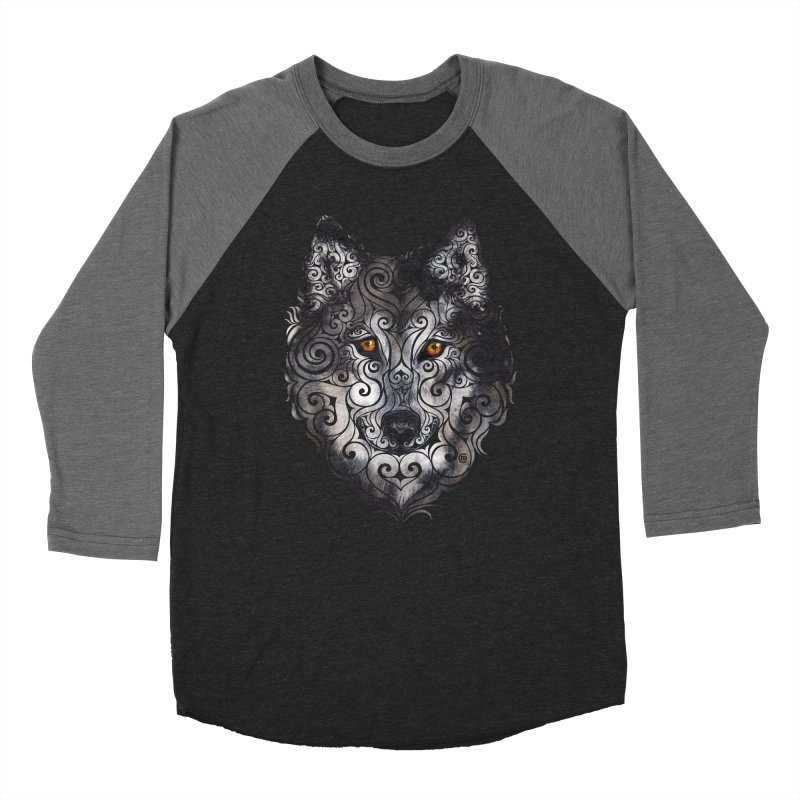 Swirly Wolf Women's Baseball Triblend Longsleeve T-Shirt by VectorInk's Artist Shop