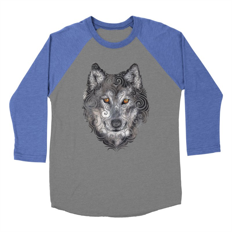 Swirly Wolf Men's Baseball Triblend T-Shirt by VectorInk's Artist Shop