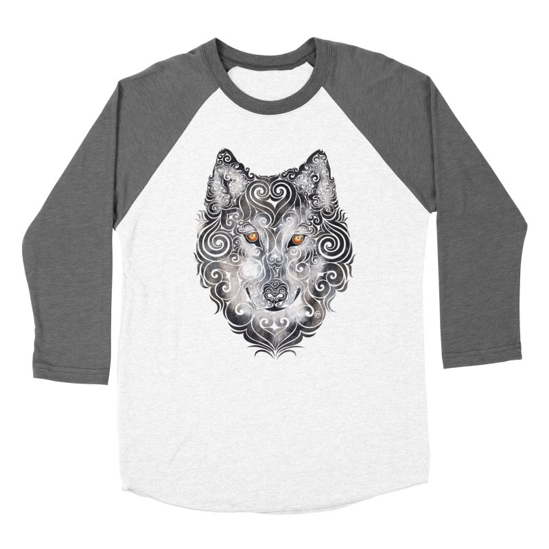 Swirly Wolf Men's Baseball Triblend Longsleeve T-Shirt by VectorInk's Artist Shop