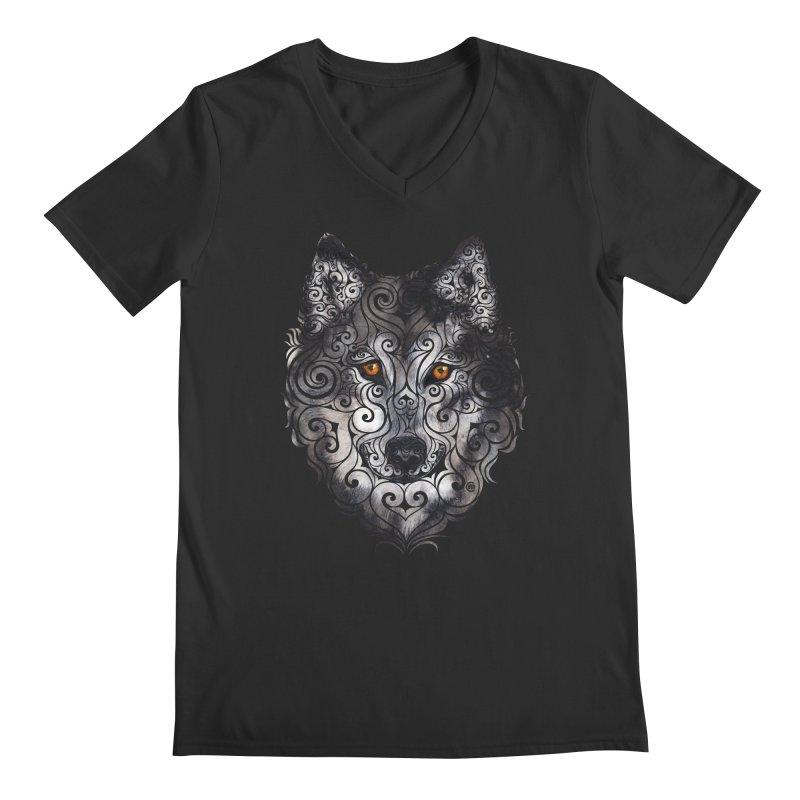 Swirly Wolf Men's Regular V-Neck by VectorInk's Artist Shop