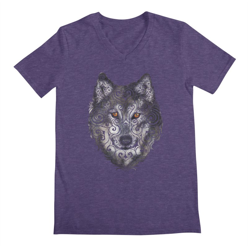 Swirly Wolf Men's V-Neck by VectorInk's Artist Shop