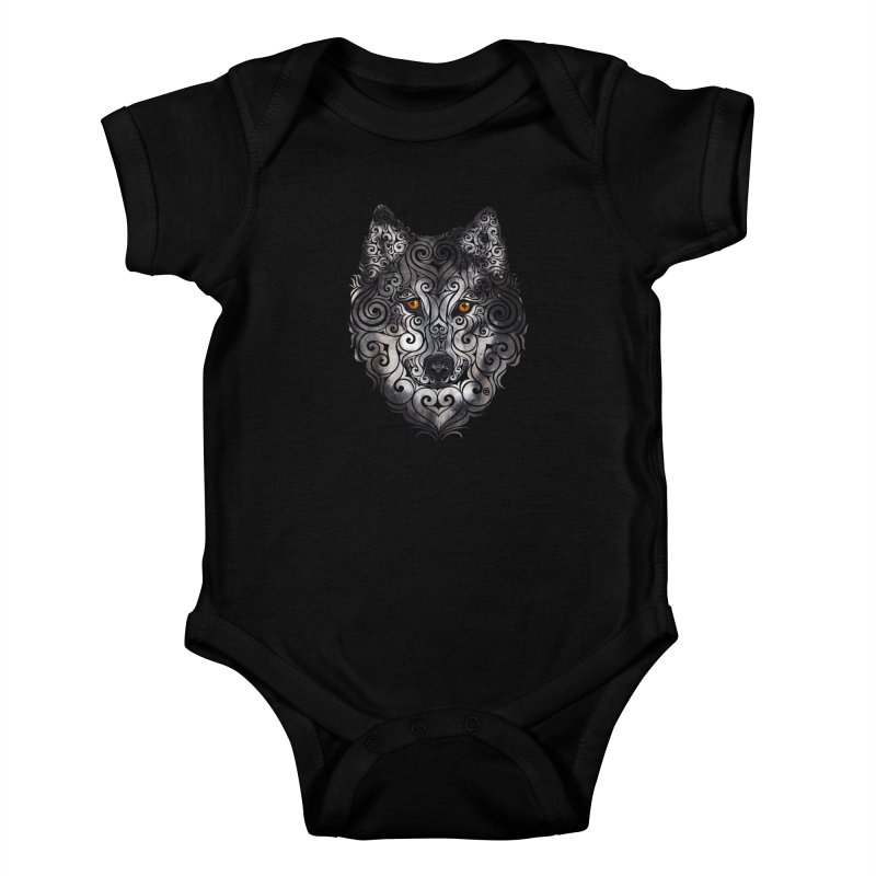 Swirly Wolf Kids Baby Bodysuit by VectorInk's Artist Shop