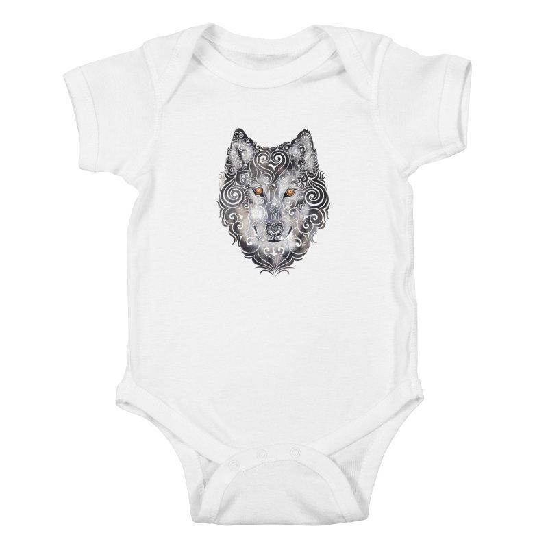 Swirly Wolf Kids Baby Bodysuit by VectorInk's Artist Shop