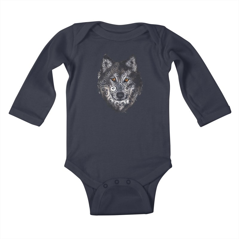 Swirly Wolf Kids Baby Longsleeve Bodysuit by VectorInk's Artist Shop