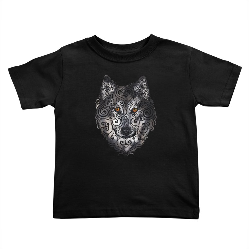 Swirly Wolf Kids Toddler T-Shirt by VectorInk's Artist Shop