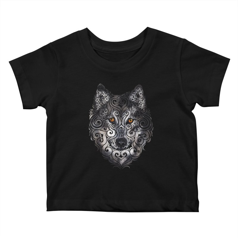 Swirly Wolf Kids Baby T-Shirt by VectorInk's Artist Shop