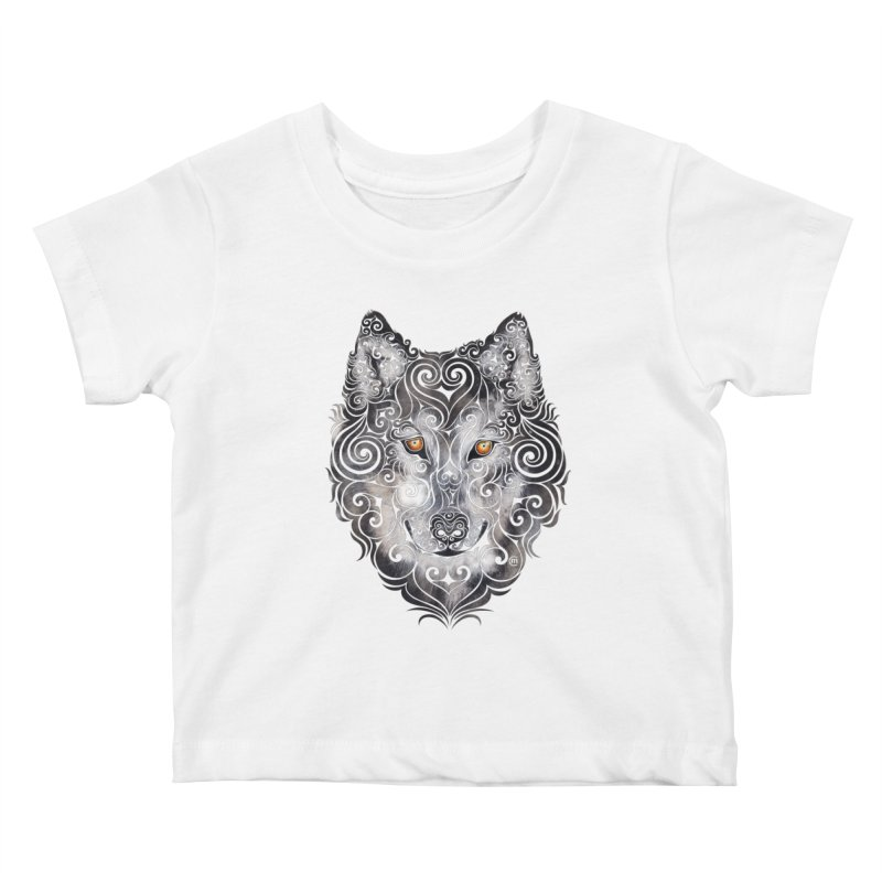 Swirly Wolf Kids Baby T-Shirt by VectorInk's Artist Shop