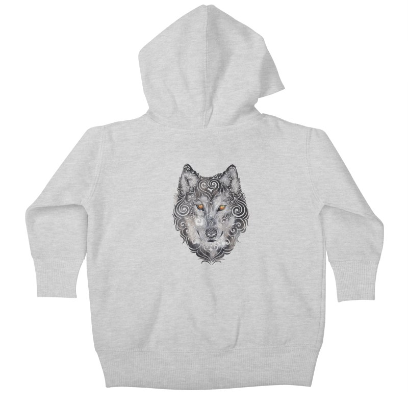 Swirly Wolf Kids Baby Zip-Up Hoody by VectorInk's Artist Shop