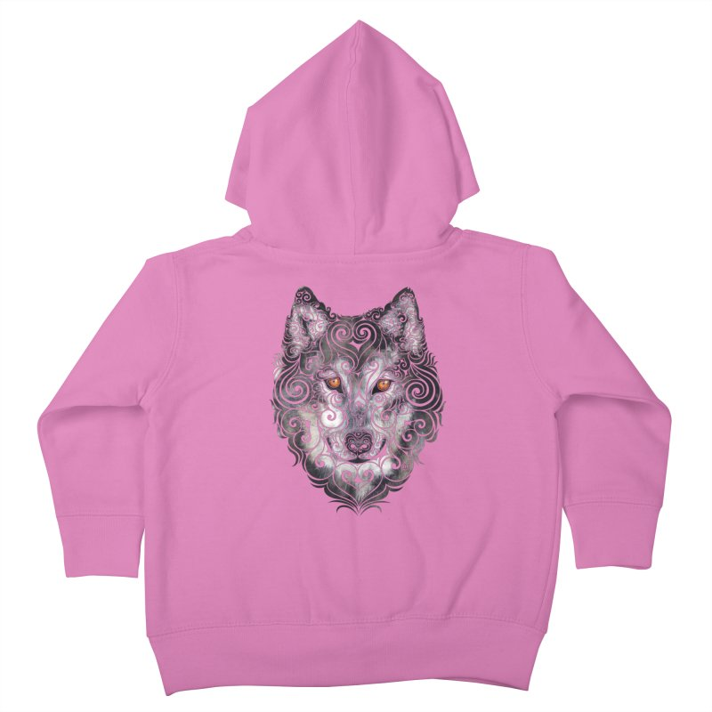 Swirly Wolf Kids Toddler Zip-Up Hoody by VectorInk's Artist Shop