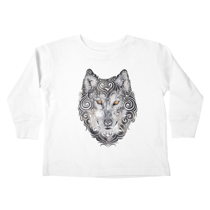 Swirly Wolf Kids Toddler Longsleeve T-Shirt by VectorInk's Artist Shop