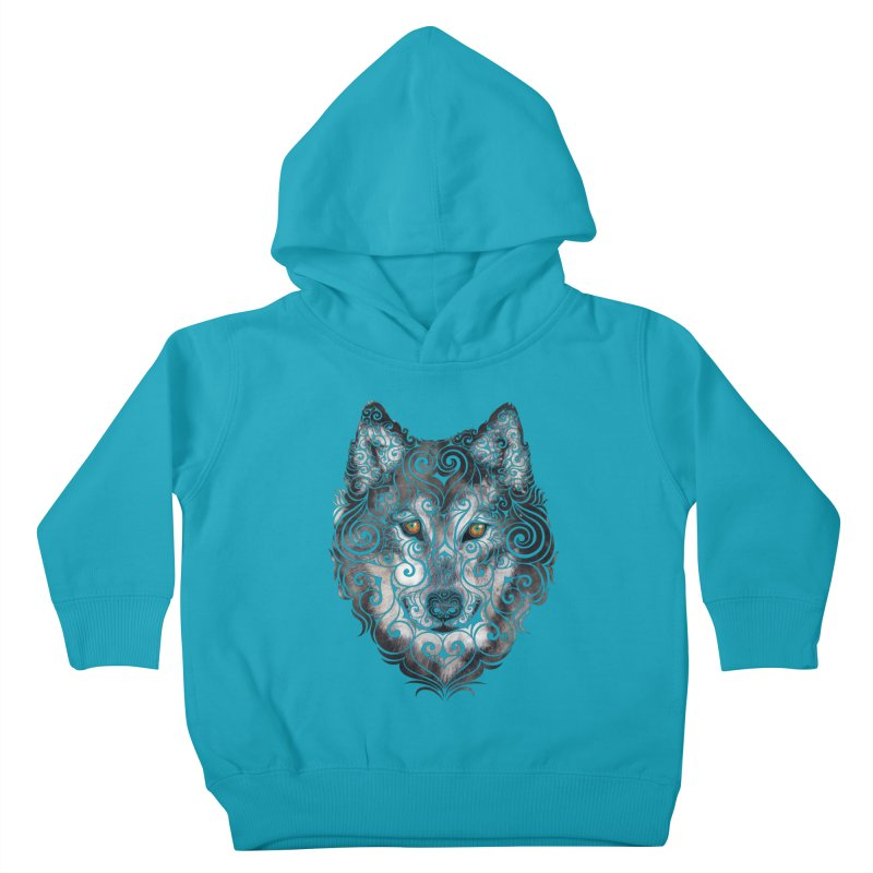Swirly Wolf Kids Toddler Pullover Hoody by VectorInk's Artist Shop