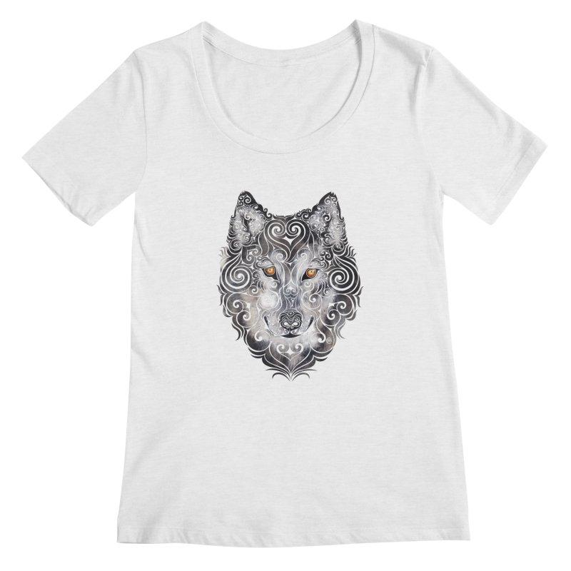 Swirly Wolf Women's Regular Scoop Neck by VectorInk's Artist Shop